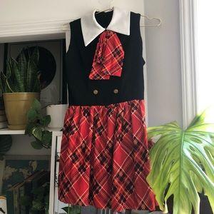 VINTAGE Red Plaid and Black Bow Tie Mini Dress
